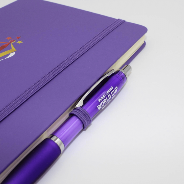 Branded Curvy Pen fitted inside a branded notebook
