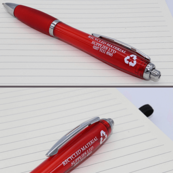 Red Curvy Pens printed to the barrel
