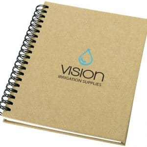 Promotional Recycled Notebooks branded with logo to front cover - Totally Branded