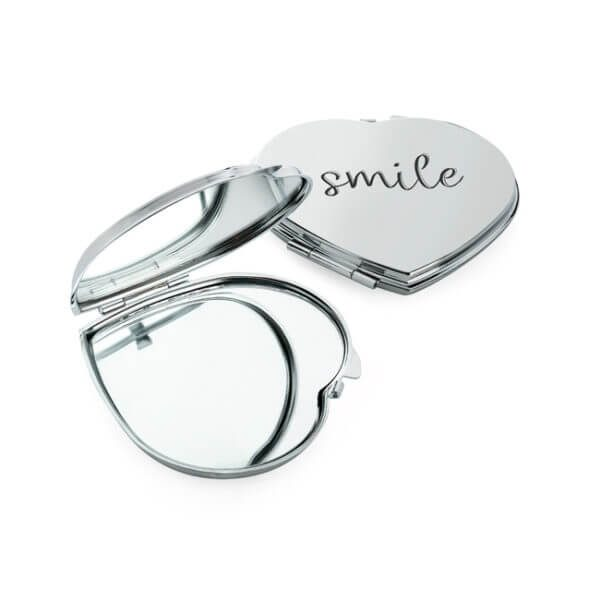 Branded Heart Shaped Double Compact Mirror - Totally Branded