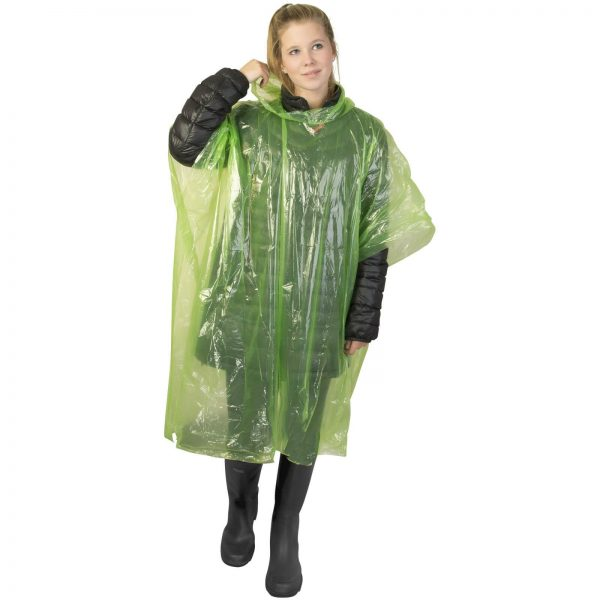 Disposable Rain Poncho With Pouch Green - Totally Branded