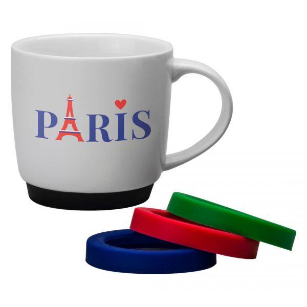 Promotional Paris Silicone Base Mug.