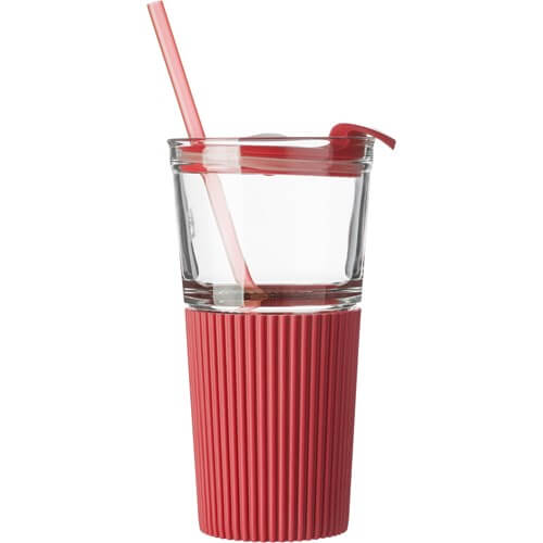 Promotional Glass Drinking Mug - Red Grip - Totally Branded