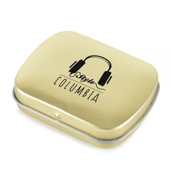 Gold Promotional Tin of Mints branded with logo - Totally Branded