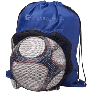 Goal Drawstring Backpack with Football Compartment Royal Blue - Totally Branded