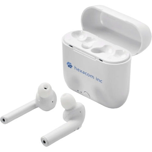 Wireless Auto Pair Earbuds With Case White - Totally Branded