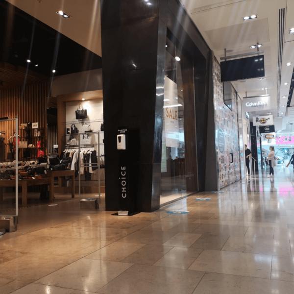Branded Sanitiser Station inside shopping centre