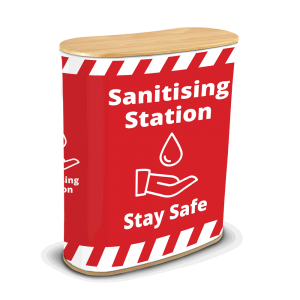 Red Printed Hand Sanitising Stationj