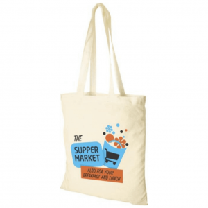 Budget 3oz Natural Cotton Tote Bag - Branded to front cover