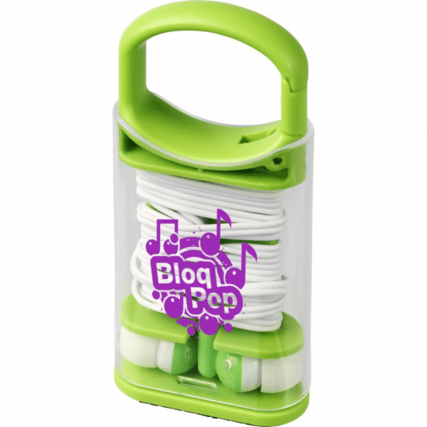 branded-snap-earbuds-with-plastic-carabiner-clip-case