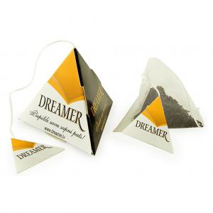 Pyramid tea bag with printed tag.