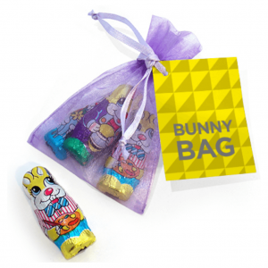 promotional chocolate easter bunny organza bag